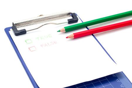 checklist: Checklist and Clipboard on white background,True or false checklist.