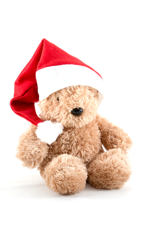 christmas toy: Fluffy teddy bear wearing a red Santa hat,Gifts for Christmas.