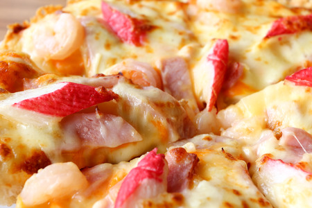 top: pizza ,seafood top view. Stock Photo