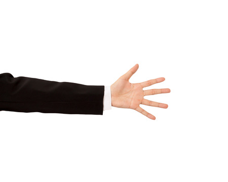 businees: Isolated hand of businees man on white background.