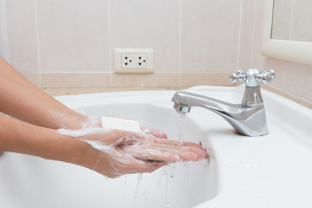 foam hand: Hygiene. Cleaning Hands. Washing hands