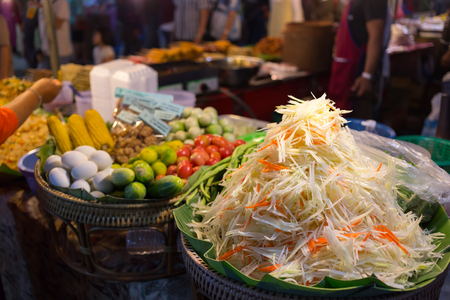 somtum: Mix vegetabel for cooking Famous Thai food, papaya salad or Somtum in Thailand. Stock Photo