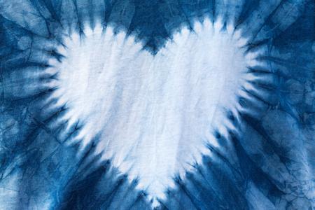 The fabric is indigo dye ,heart shaped.