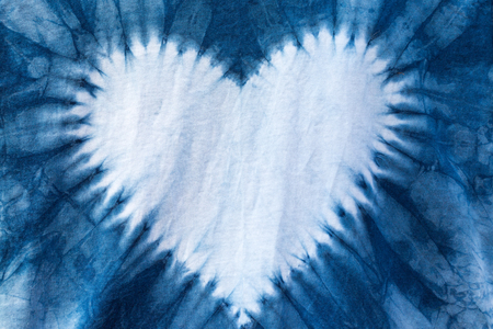 The fabric is indigo dye ,heart shaped.