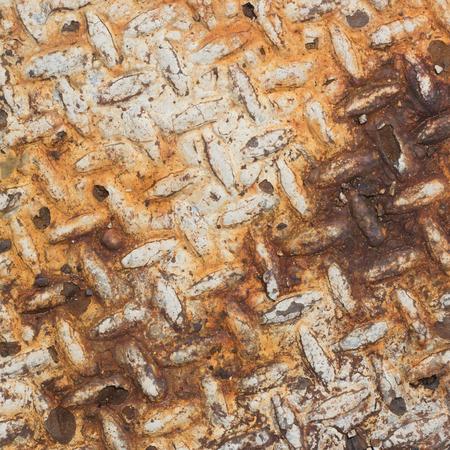 Texture of rusty old diamond plate metal. Stock Photo