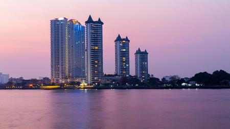 river scape: Bangkok city scape near river. Stock Photo