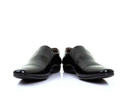 s tie: black shoes isolated on white background. Stock Photo