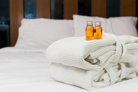 glycerin soap: Liquid soap put on  bathrobein  hotel room. Stock Photo