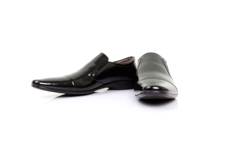 pretty s shiny: black shoes isolated on white background. Stock Photo