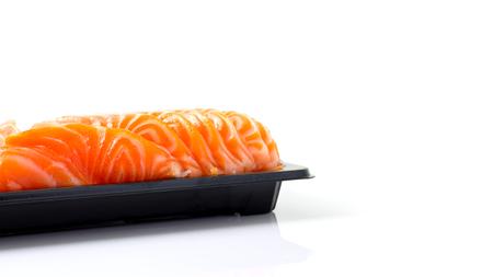 salmon sashimi slices on on plastic package,Japanese food.
