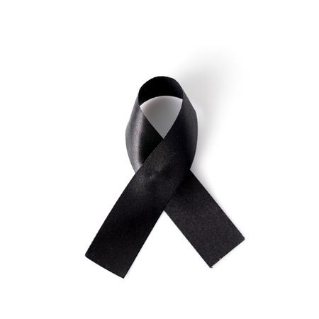 subversive: Black awareness ribbon isolated on white background. Mourning and melanoma symbol. Stock Photo
