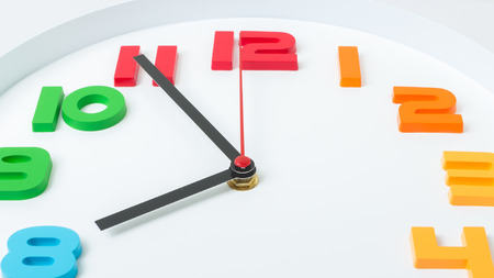 expiration: Colorful clock or time abstract background. white clock with red and black needles.