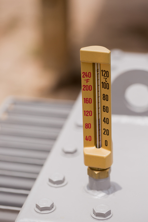 swelter: Close up of thermometer on transformers.