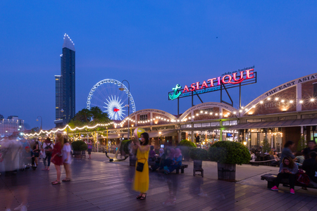 riverfront: BANGKOK-March 2,2017 : Asiatique The Riverfront is a large open-air mall in Bangkok, Thailand. It is situated in the former docks of the East Asiatic Company, and faces the Chao Phraya River and Charoen Krung Road