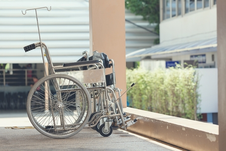 invalidity: Wheelchair for patient moving standing in a government hospital.