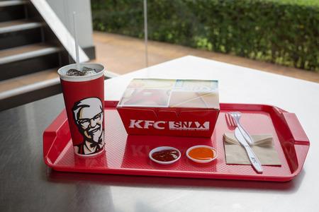 UdonThani ,THAILAND - November 19, 2016: Kentucky Fried Chicken (KFC) Restaurant Menu, KFC is a fast food restaurant chain that specializes in fried chicken.