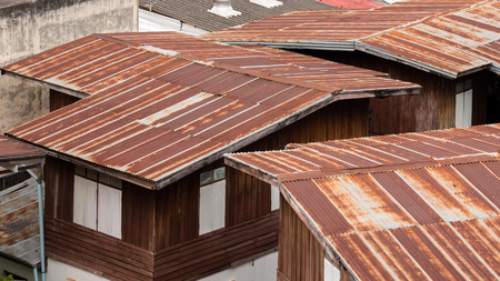 The roof of a house in Thailand,roof is made of tin or tile