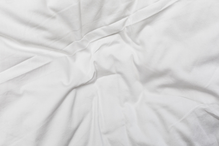 Stock Photo   Top View Of Bedding Sheets Crease,white Fabric Texture