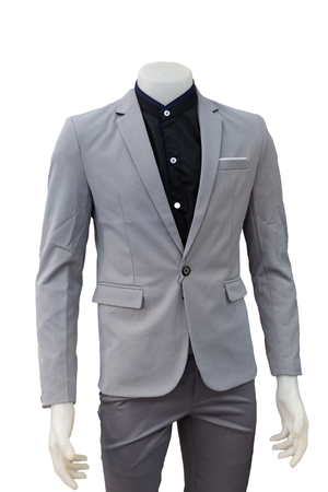 isolated of gray suit on mannequin.
