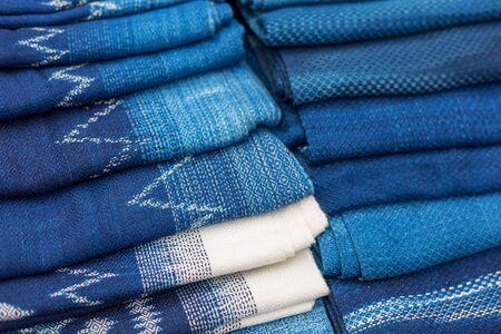 Indigo blue scarves for the at the market, Thai Blue Indigo dyed cloth.