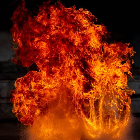 Cose su del fondo di struttura della fiamma del fuoco della fiammata. Archivio Fotografico