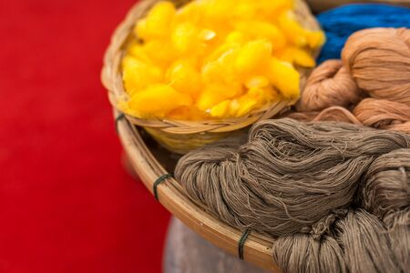 Close up of cotton dye is made from natural ingredients. in Thailand Banque d'images