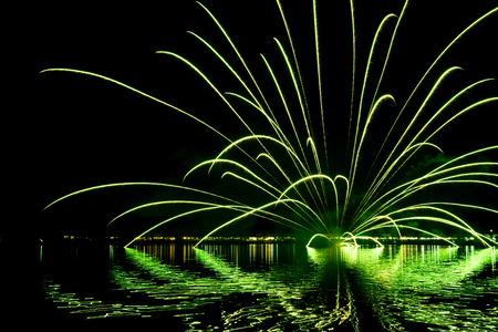 Colorful firework show taken in BKK Thailand Stock Photo