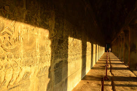 sculp: The Sculpted Wall at Angkor Wat Stock Photo