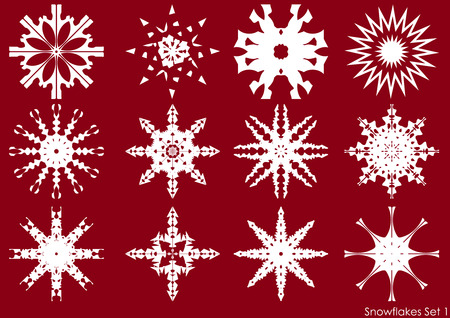 A set of snowflakes, vector objects Illustration