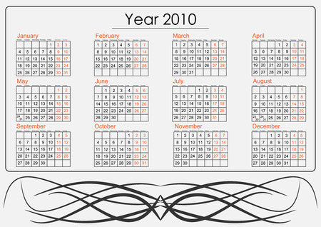 Full 2010 calendar with tribal whirls