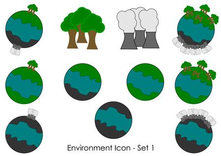 antipollution: Un conjunto de iconos de medio ambiente, objetos vectoriales