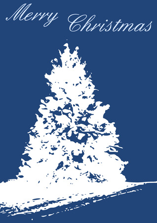 A Christmas card with snowy pine