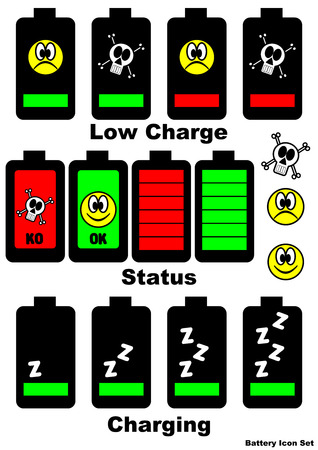 A set of battery status signals Illustration