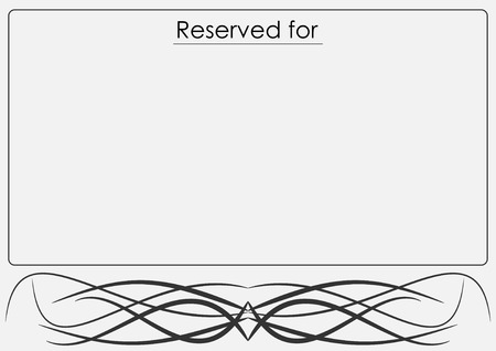 wedding reception decoration: Grey table placeholder with tribal whirl