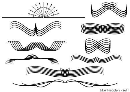 A set of abstract headers, vector objects