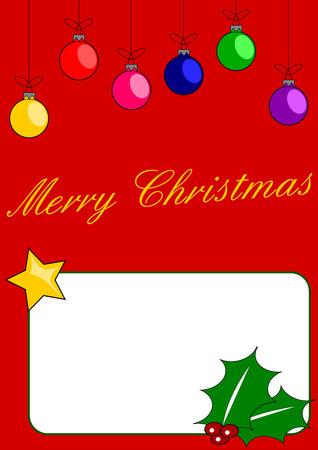 A Christmas card with coloured balls, star and mistletoe