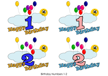Birthday numbers for greetings card - Number 1-2 Vector