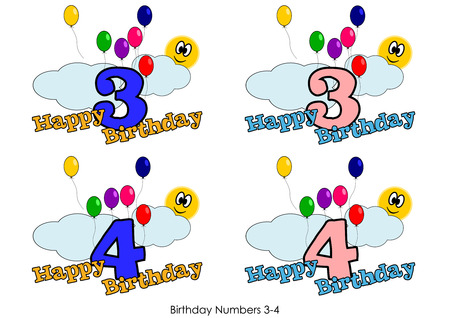 Birthday numbers for greetings card - Number 3-4 Vector