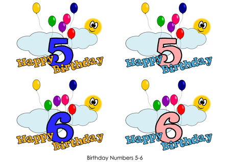 Birthday numbers for greetings card - Number 5-6 Vector