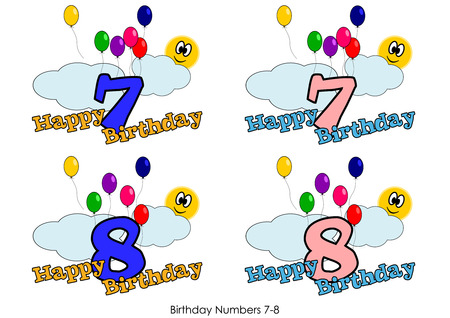 Birthday numbers for greetings card - Number 7-8 Vector