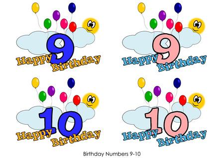 Birthday numbers for greetings card - Number 9-10 Vector