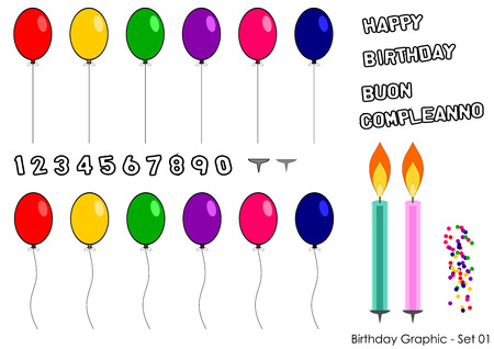 Birthday elements set for greetings card Vector