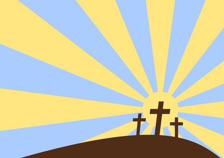 jeruzalem: Drie kruisen met zons ondergang achtergrond, cartoon-stijl  Stock Illustratie