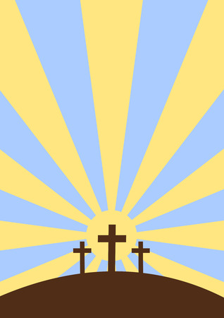 Three crosses with sunset background, cartoon style