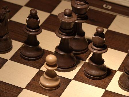 Chess - A brave white pawn  photo