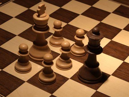 Chess - White hard defense  Stock Photo