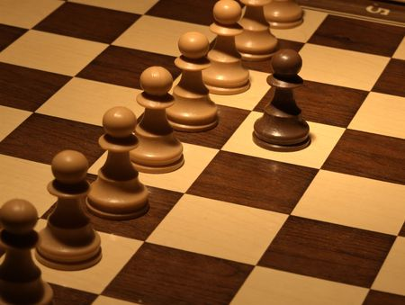 Chess - White wall defense Stock Photo