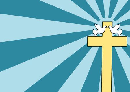 holy symbol: Un par de palomas cerca de una Santa Cruz - estilo de Cartoon