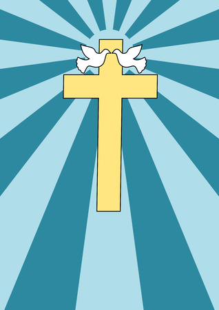 jesus cross: A couple of doves near a Holy Cross - Cartoon style Illustration
