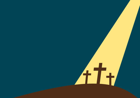A Holy Crosses with ray of light - Cartoon style Illustration